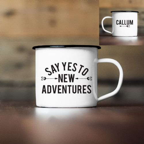 Personalised New Adventures Enamel Mug